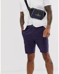 ASOS – Enge Cargo-Shorts - Blau