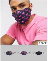 ASOS Confezione da 3 mascherine nere con laccetti regolabili, clip sul naso e stampa di farfalle - Nero