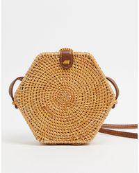 ASOS Hexagon Straw Cross Body Bag - Brown