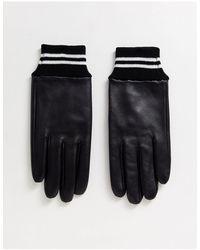 ASOS – e Lederhandschuhe mit gestreiften Bündchen - Schwarz