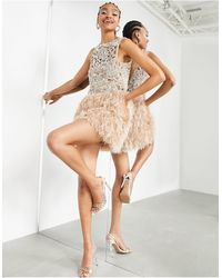ASOS Sequin Cutwork Mini Dress With Feather Hem - Pink