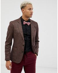 ASOS - Skinny Blazer In Grey Red And Gold Sparkle Check - Lyst
