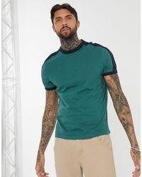 ASOS Camiseta verde en tejido orgánico con panel en contraste en los hombros