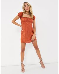 Motel Square Neck Mini Dress - Orange