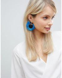 South Beach Bright Blue Tassel Disc Earrings