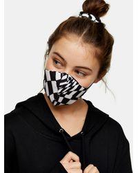 TOPSHOP Ensemble masque en tissu et chouchou a imprimé monochrome - Noir