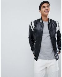 Barneys Originals - Real Leather Varsity Jacket With Panelling - Lyst