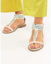 Truffle Collection - Chain Flat Sandals - Lyst