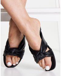 New Look - Черные Сандалии Из Искусственной Кожи С Ремешками И Узлом -черный Цвет - Lyst