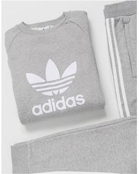 adidas Originals - Felpa con trifoglio grande grigio mélange - Lyst