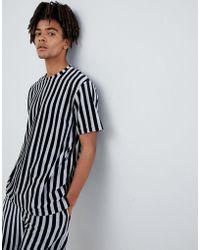 Mennace - T-shirt In Navy Stripe Towelling - Lyst