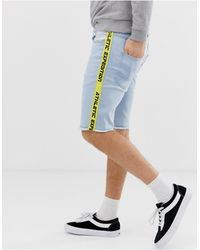 Solid Regular Fit Denim Shorts With Taping - Blue