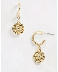 TOPMAN Hoop Earrings With Charm - Metallic