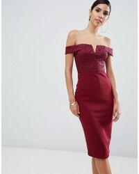AX Paris Midibardot-jurk Met Print - Rood