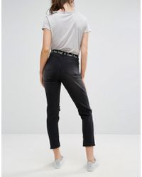 Daisy Street - Raw Hem Ankle Jeans With Bad Ass With A Good Ass Embroidery - Lyst