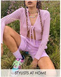 Reclaimed (vintage) Трикотажный Кроп-топ Лавандового Цвета Inspired-фиолетовый Цвет - Пурпурный