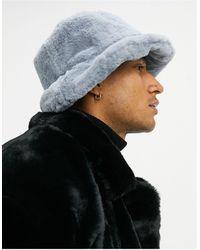 ASOS Bucket Hat Van Imitatiebont - Blauw