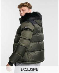 Schott Nyc 2190j Slim Fit Puffer Jacket With Detachable Faux Fur Hood - Green