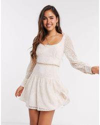 Fashion Union - Кружевное Платье Мини Розового Цвета -белый - Lyst