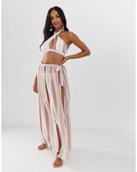 Miss Selfridge Exclusive Printed Wrap Maxi Skirt - Pink
