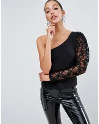 ASOS - Top With 80s One Shoulder Lace Sleeve - Lyst