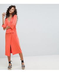 ASOS Asos Design - Tall - Midi-jurk Met Overslag - Roze