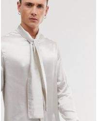 ASOS Regular Fit Satin Shirt With Pussy Bow In Off White Satin