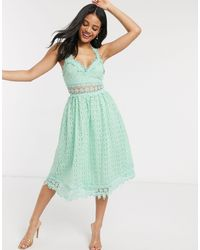 Love Triangle Midi Lace Prom Dress - Green