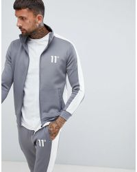 11 Degrees - Muscle Fit Track Jacket In Gray With Logo - Lyst