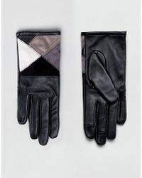 ASOS - Leather & Suede Mix Touch Screen Gloves In Mono - Lyst