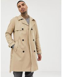 Bershka - Trench Coat In Beige - Lyst