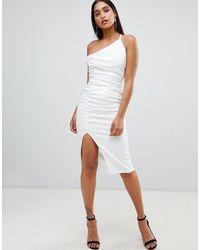 ASOS Vestido midi asimétrico ajustado con detalle fruncido - Blanco
