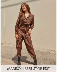 ASOS Shellsuit Jumpsuit With Contrast Seatbelt Buckle - Green