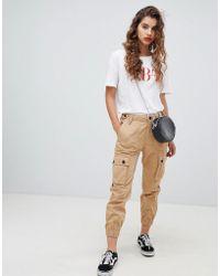 Bershka Pantalon cargo utilitaire - Beige - Neutre