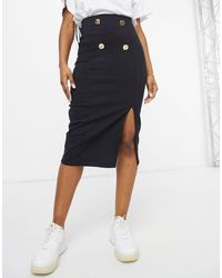 ASOS Bengaline Pencil Midi Skirt With Button Detail - Black