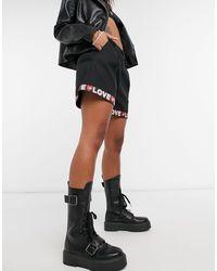 Love Moschino Черные Шорты С Логотипом На Окантовке -черный Цвет