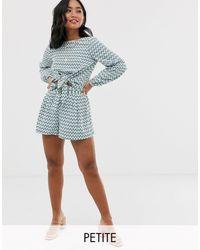 Vero Moda Shorts Combi-set Met Gestrikte Taille En Geometrische Print - Blauw