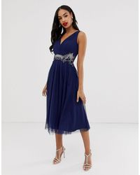 Little Mistress V Neck Tulle Skirt Midi Dress With Embellished Detail - Blue