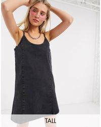 Noisy May Mini Dress In Acid Washed Black Denim