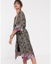 DORINA Dolores Leopard Print Floral Trim Kimono Robe - Multicolour