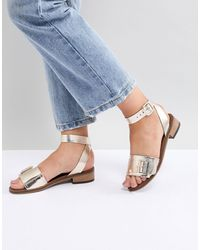 H by Hudson Leather Flat Sandals - Metallic