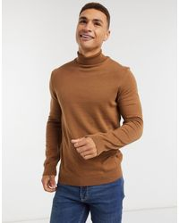 New Look Roll Neck Knitted Jumper - Brown