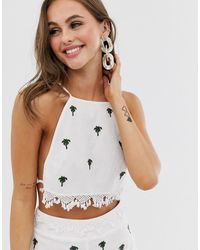 ASOS Premium Beach Cami With Palm Tree Embroidery & Crochet Trim Co-ord - White