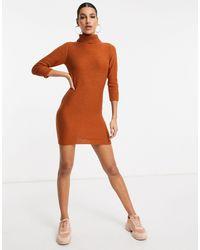 Brave Soul - Платье-джемпер С Отворачивающимся Воротником Бежевого Цвета Mandy-коричневый - Lyst