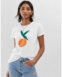 FABIENNE CHAPOT Camiseta con estampado pintado de melocotón - Blanco
