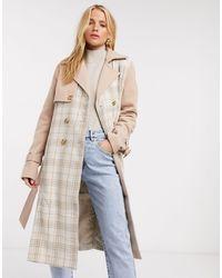 Fashion Union Trench-coat à carreaux - Neutre