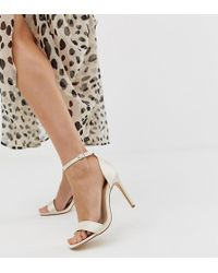 Truffle Collection Wide Fit Bridal Stiletto Barely There Square Toe Heeled Sandals - Multicolour