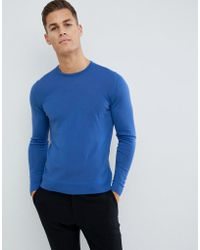J.Lindeberg Round Neck Merino Knitted Jumper In Blue