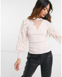 River Island Feather Sleeve Knit Sweater - Pink