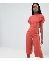 Missguided Exclusive Tall Open Back Culotte Jumpsuit - Multicolour